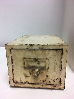 Vintage Industrial 1 Drawer Metal 3x5 Index Card File Box Cabinet Recipes  Patina