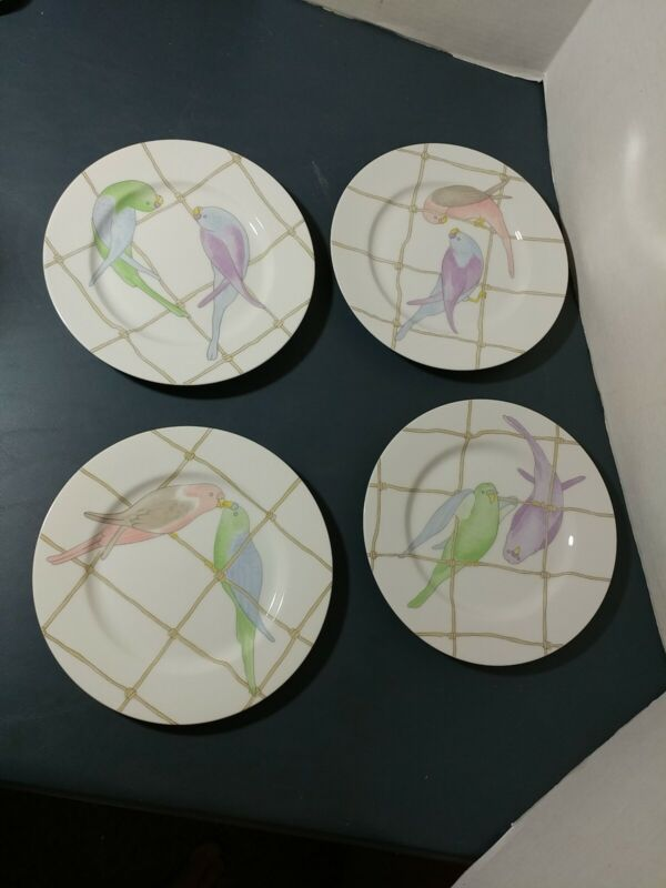 "4 Vtg FITZ & FLOYD PASTEL PARAKEETS PORCELAIN 7 1/2"" plates"
