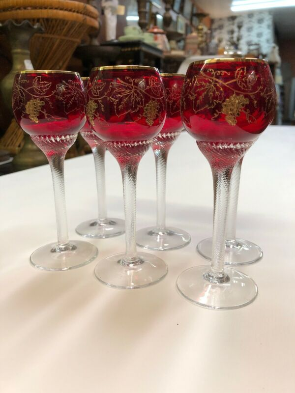 Vintage Antique Ruby Glass Gold Trim Cordials Stemware Set Of Six