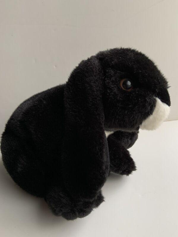"Animal Alley 2000 Toys R Us Realistic Plush Bunny Rabbit Black White 13"" Heavy"