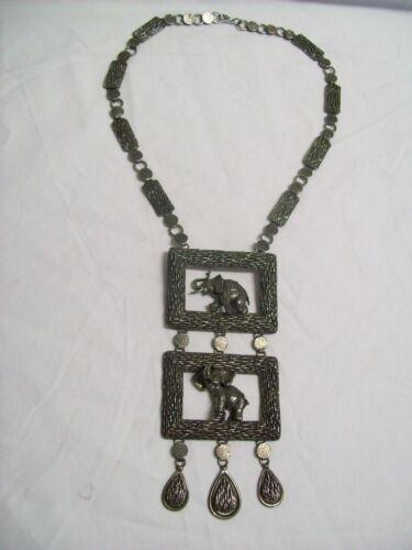 Vintage Pewter Double Elephants in Rectangle Pendants Large Necklace 1960