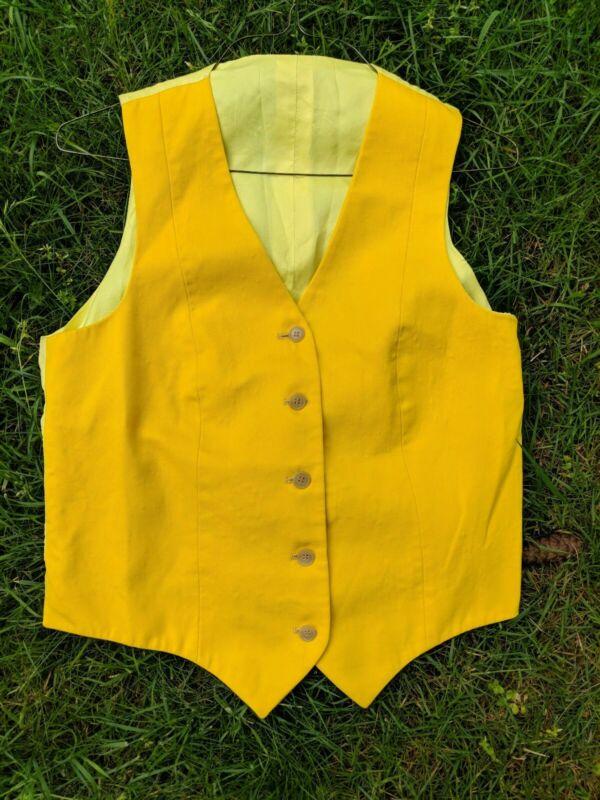 Beautiful Yellow linen Saddleseat Vest size M