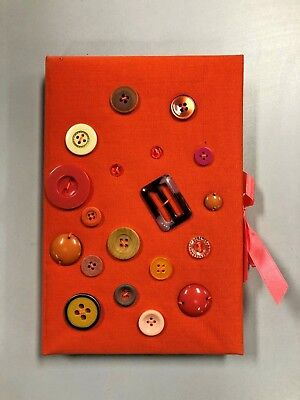 Button Covered Orange Journal Notebook For Art And Writing