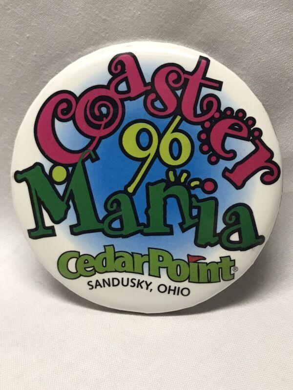 "1996 Coaster Mania Annual 3"" Button Pin Cedar Point Amusement Park Sandusky Ohio"