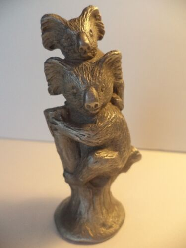 "UNIQUE 3 1/4""  AUSTRALIAN PEWTER KOALA BEAR MOM AND BABY MINIATURE FIGURINE"