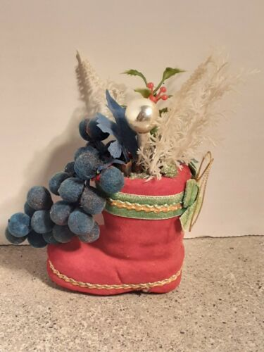 Vintage Christmas Red Felt Boot Ornament 1960