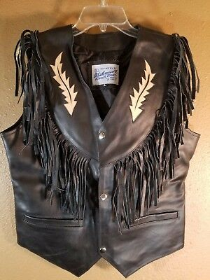 Men Rockmount Ranch Western Wear Vest Black Suede Leather Fringe Waistcoat 9063