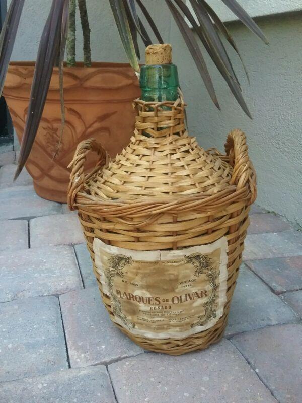 vintage Marques de Olivar empty 1 gal wicker- green -rose wine bottle 60