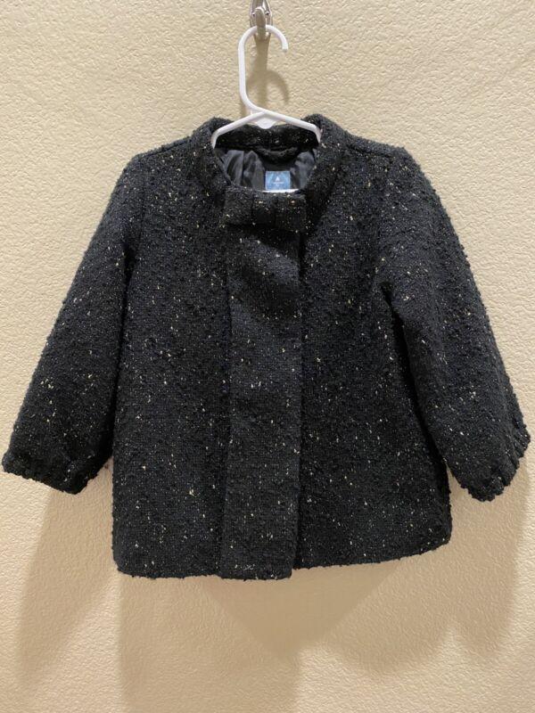 Baby Gap Toddler Girl's Wool blend Tweed Coat Jacket 2T Black and Gold