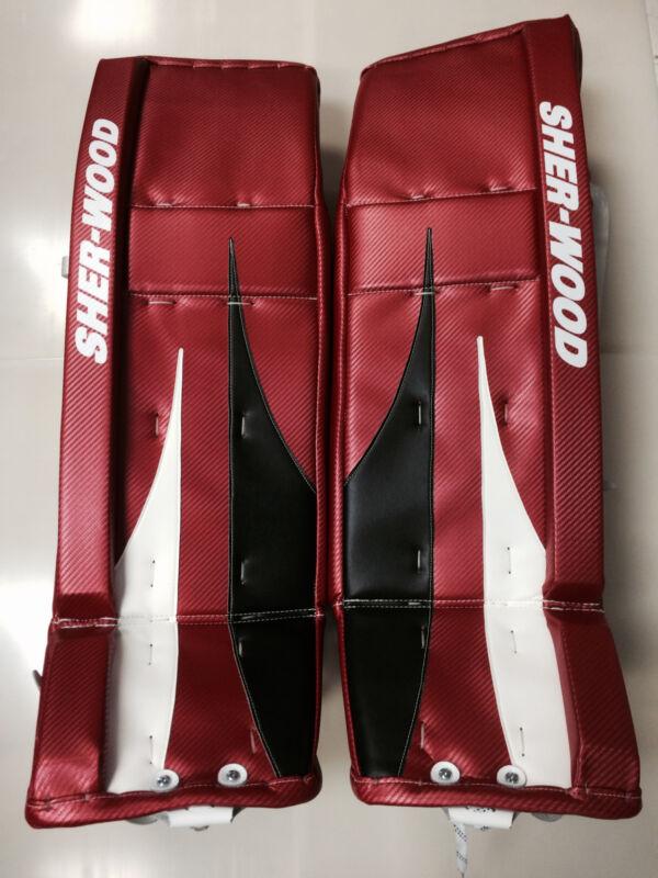 """Sherwood T100 Pro Returrn hockey goalie 35"""" leg pads red black white goal new sr"""