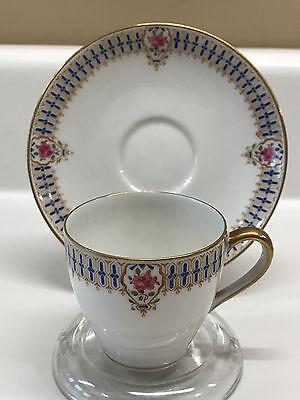 C AHRENFELDT LIMOGES DEMITASSE CUP & SAUCER c1900 for sale  Danville