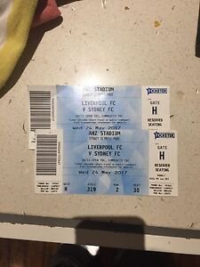 1 ticket to Liverpool v Sydney fc Brightwaters Lake Macquarie Area Preview