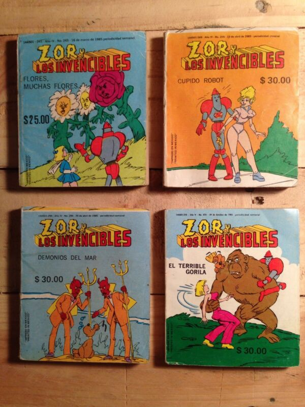 Mexico vintage Comic Book MINI Zor Y Los Invencibles lot of 4