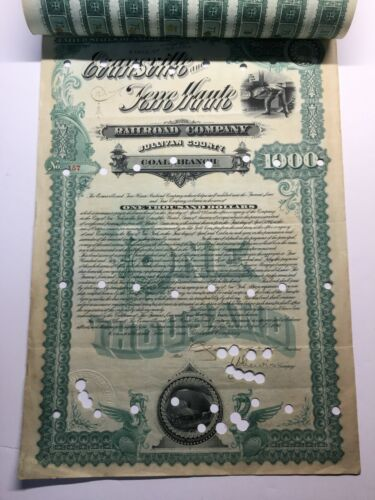 EVANSVILLE & TERRE HAUTE RR COMPANY 1890 GOLD BOND, 24 ATTACHED COUPONS