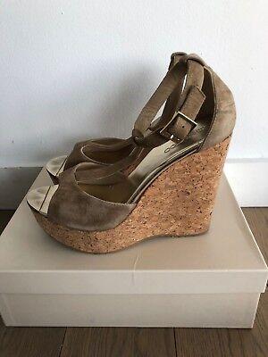 Brown Espadrille - Jimmy Choo Pela Brown Suede Cork Espadrille Wedge Sandal Shoe Size 39