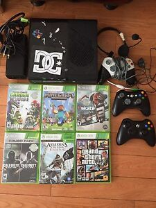 XBOX 360 includes 3 controllers, headset and 6 games