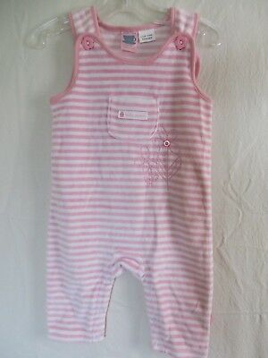Pumpkin Patch Baby Patch Overalls Soft Velour Pink White Stripe 6-12 Mos  - Striped Velour Overalls