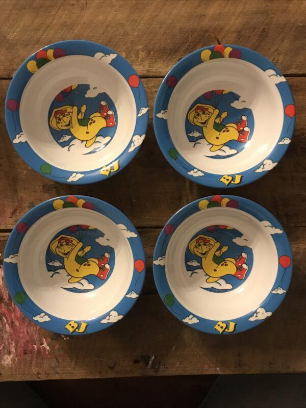 Barney Balloons Cereal Bowl Set of 4 - BJ Yellow Dinosaurs Nineties Plastic