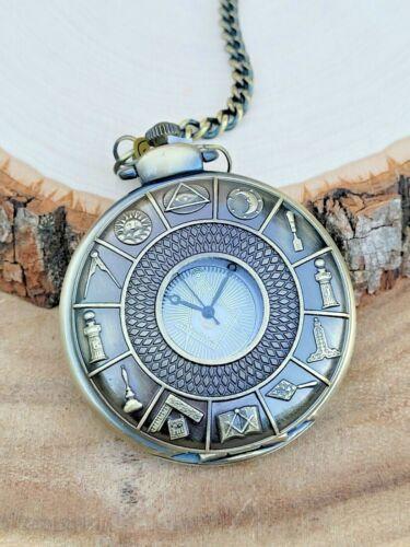 Mason Pocket Watch Masonic Compass Brass Freemasons Symbols Pocket Watch