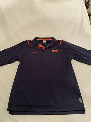 Nike Illinois Fitory Athletic Men's Polo Shirt, Blue/orange, Size M, Polyester