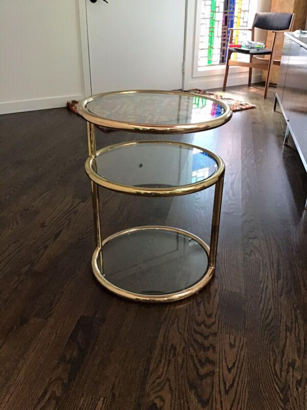 Mid Century Modern Three Tier Brass Side Table