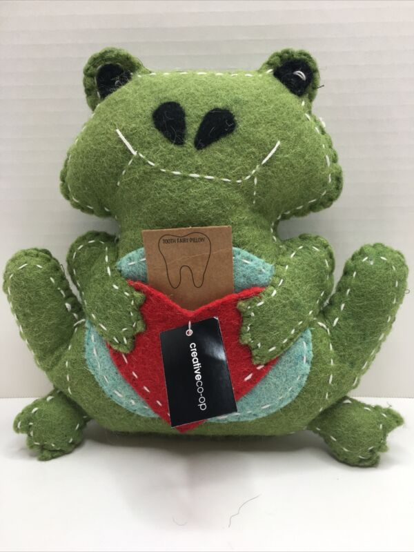 Creative co-op new wool kids green frog heart tooth fairy pillow- no lost teeth