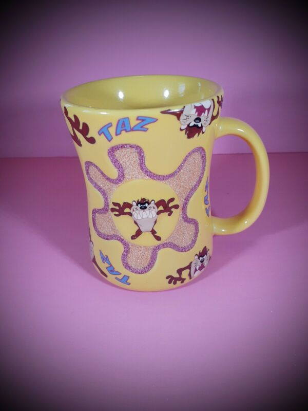 Six Flags Taz Flower Mug Yellow Looney Tunes Tasmanian Devil