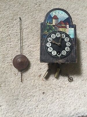 Fine Working Antique Mini Wag On The Wall Clock F K E Walch Germany