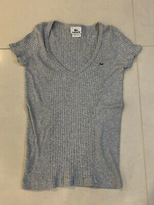 Lacoste Women Gray V Neck Cute T-shirt Top Size 38 Medium