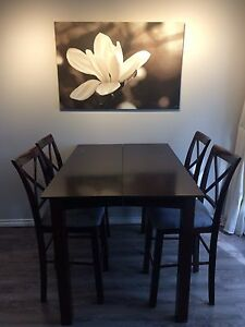 Counter height table with extension, 5 chairs