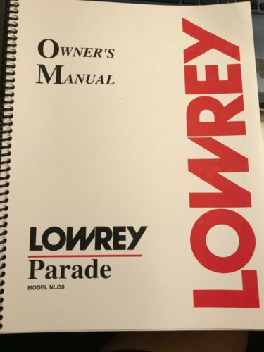 Lowrey NL30 NL-30 Parade Organ Owners Manual