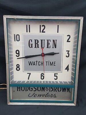 Vintage Tall Gruen Watch Time Hodgson & Brown Jewelers Electric Wall Clock