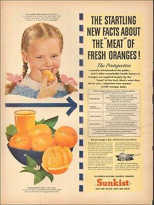 Orange Dresses For Little Girls (1946 Vintage ad for Sunkist oranges`Little girl Blue dress Pink ribbons.)