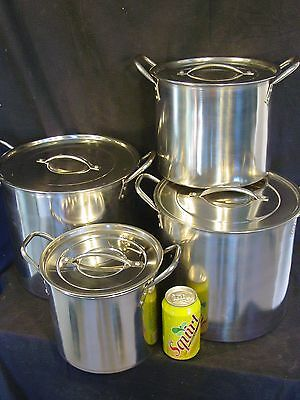 NEW 4pc Large Stainless Steel Deep Stock Soup Boiling Pot Stockpots Set Catering