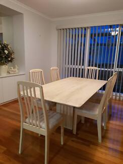 """REDUCED TO SELL "" TRAVERTINE DINNING TABLE 6 CHAIRS"