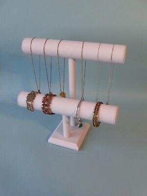 12h White Leather Jewelry Display 2 Tier T Bar Bracelet Bangle Watch Chain Pj56