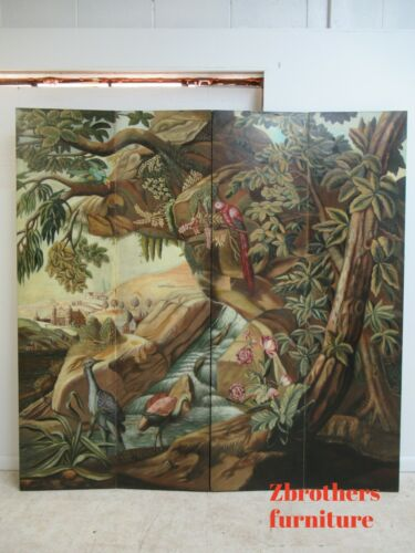 Maitland Smith Hand Painted 4 Section Screen Divider Room Partition