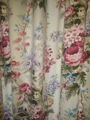 Vintage Filigree Woburn Floral Curtains L177cms W165cms  Country Cottage roses