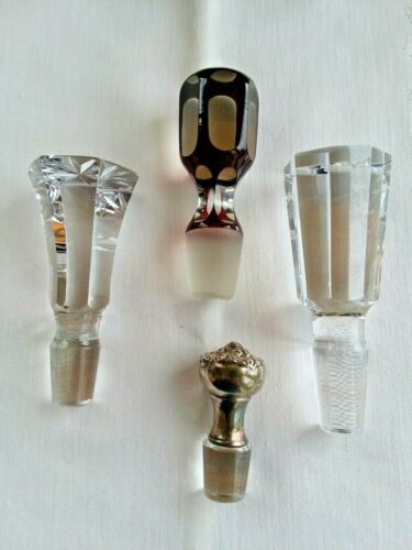 Lot of 4 Decanter Replacement Stoppers ~ Red Ruby Flash Sterling Silver Crystal
