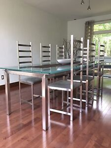 Dinning Table and 8 Ladder Back Chairs