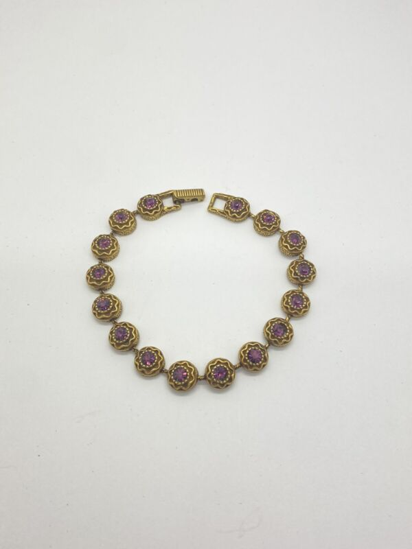"Goldette Gold Tone Amethyst Purple Glass Tennis Bracelet 7.25"""