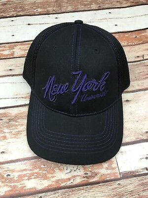 New York University Nyu Stretch Fit Osfm Men S Black Purple Baseball Hat Cap Nwt