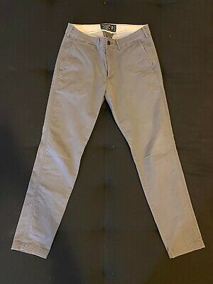 ABERCROMBIE & FITCH - MENS CHINOS - 28x30 - GREY - FELIX SUPER SLIM STRETCH