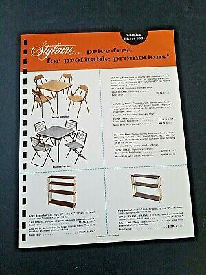 Vntg STYLAIRE Card Table/Chrs Bookshelf Carts Stool 1962 Pg Manar Sales Catalog