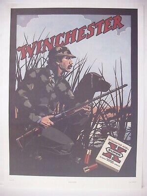 VINTAGE Winchester 1981 Duck Hunter Paper Poster Advertising Sign Nancy Stahl