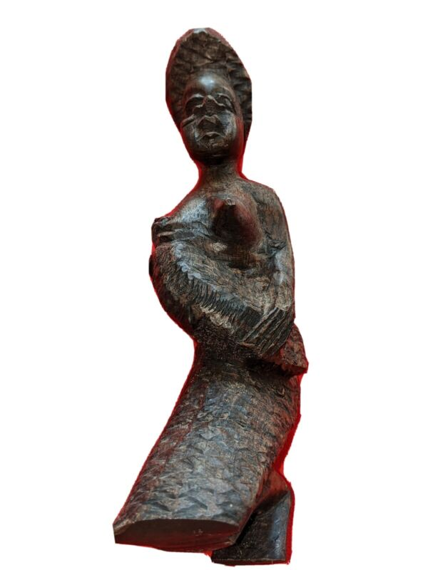 VINTAGE AFRICAN TRIBE EBONY WOOD HAND CARVED SCULPTURE FIGURINE