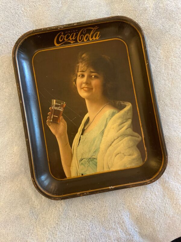 Coca Cola Original Antique 1923 Flapper Girl Advertising Serving Tray