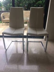 WHITE LEATHER LOOK DINING CHAIRS Sans Souci Rockdale Area Preview