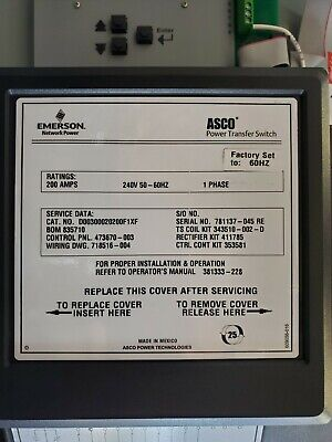 Asco Series 300 Automatic Transfer Switch - 200 Amp 240 Volt 1 Phase