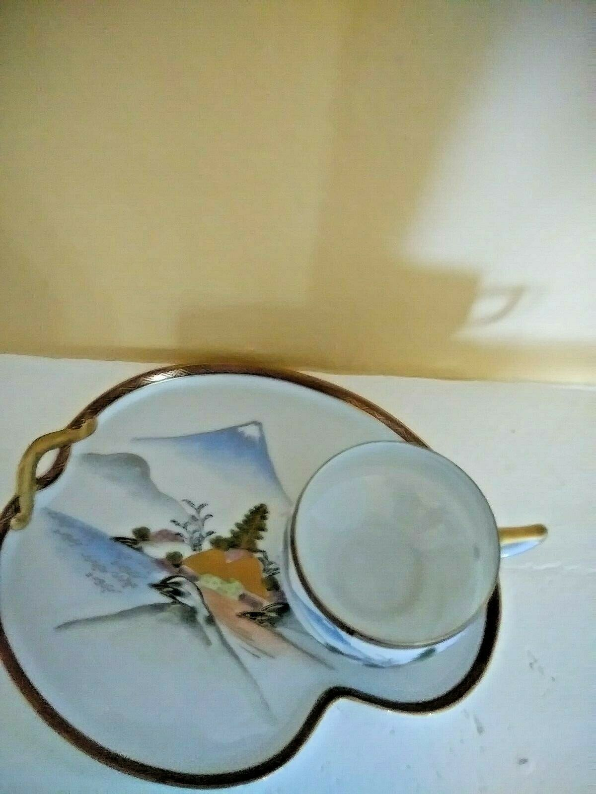 VTG Kutani Yaki Yamazaki Mt Fuji Japan 2pc TeaCup Snack Plate Porcelain China  - $24.99